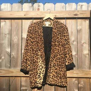 Bloomingdales 80's Silk Blazer Animal Print